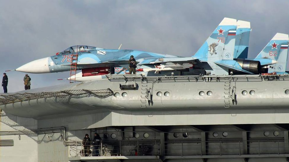 Aircrafts on the Russian warship