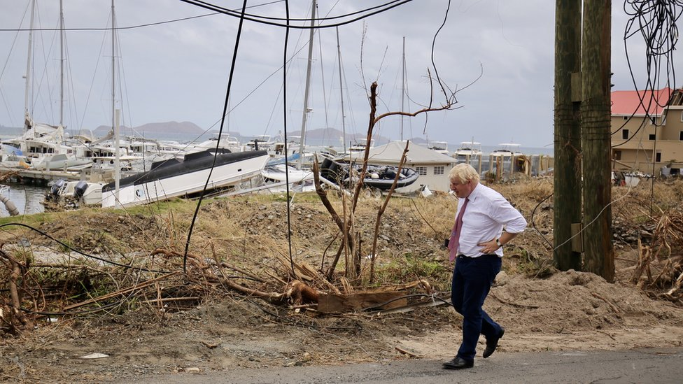 Boris Johnson surveying destruction in the British Virgin Islands