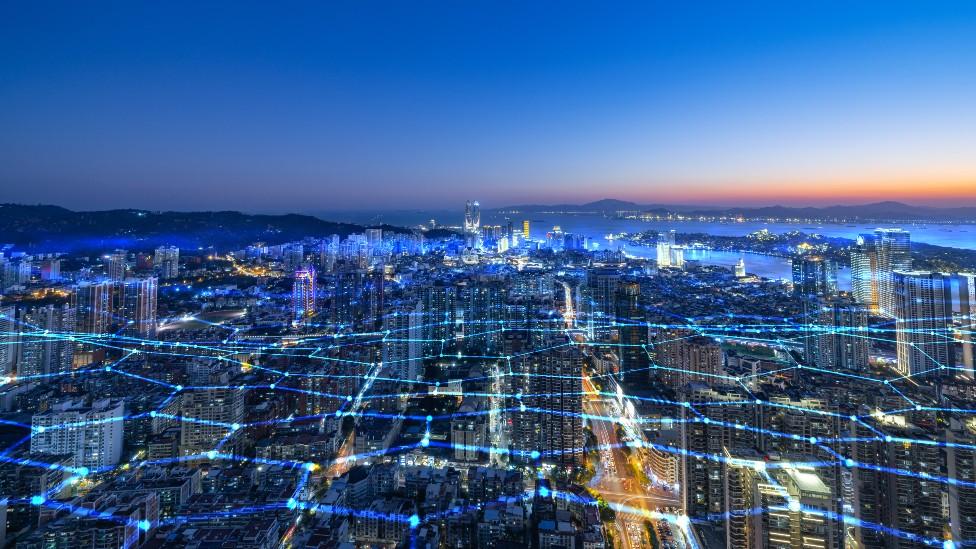 Ilustración de la idea de una ciudad interconectada
