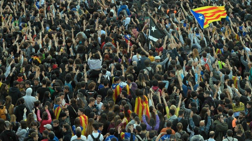 manifestantes en Cataluña.