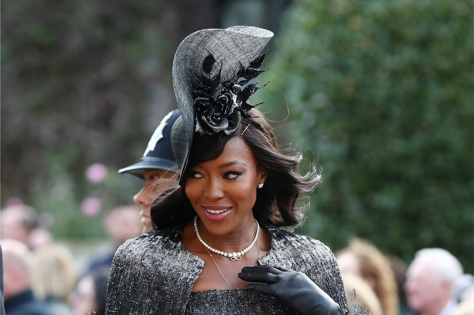 Naomi Campbell arrives ahead of the wedding of Princess Eugenie to Jack Brooksbank at St George's Chapel in Windsor Castle