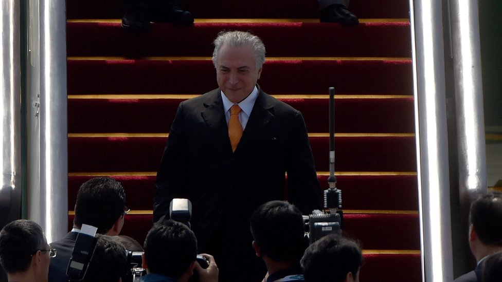 Michel Temer arriving in Hangzhou for the G20 leaders summit
