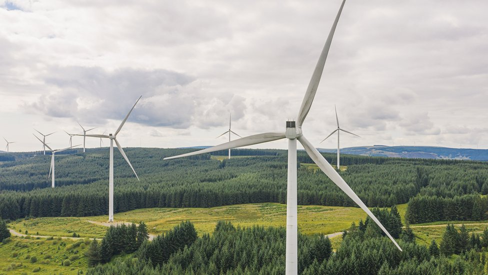 A windfarm in a rural landscape