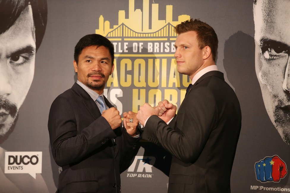 Manny Pacquiao and Jeff Horn face off during a press conference at Suncorp Stadium on July 2nd on April 26, 2017 in Brisbane, Australia.