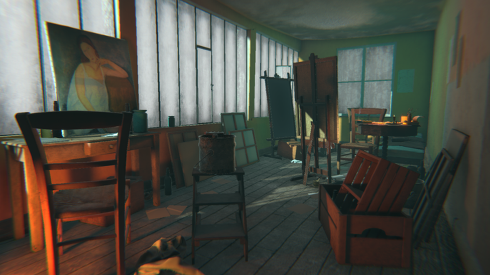 Image of a virtual reality version of Amedeo Modigliani's studio