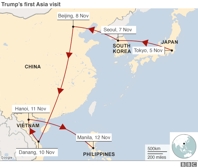 Map of Trup's tour of Asia