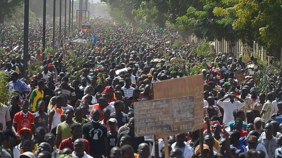 Burkina Faso opposition supporters protest in Ouagadougou against long-serving president Blaise Compaore on 28 October 2014