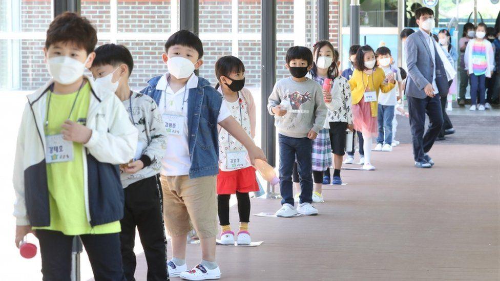 Niños en fila