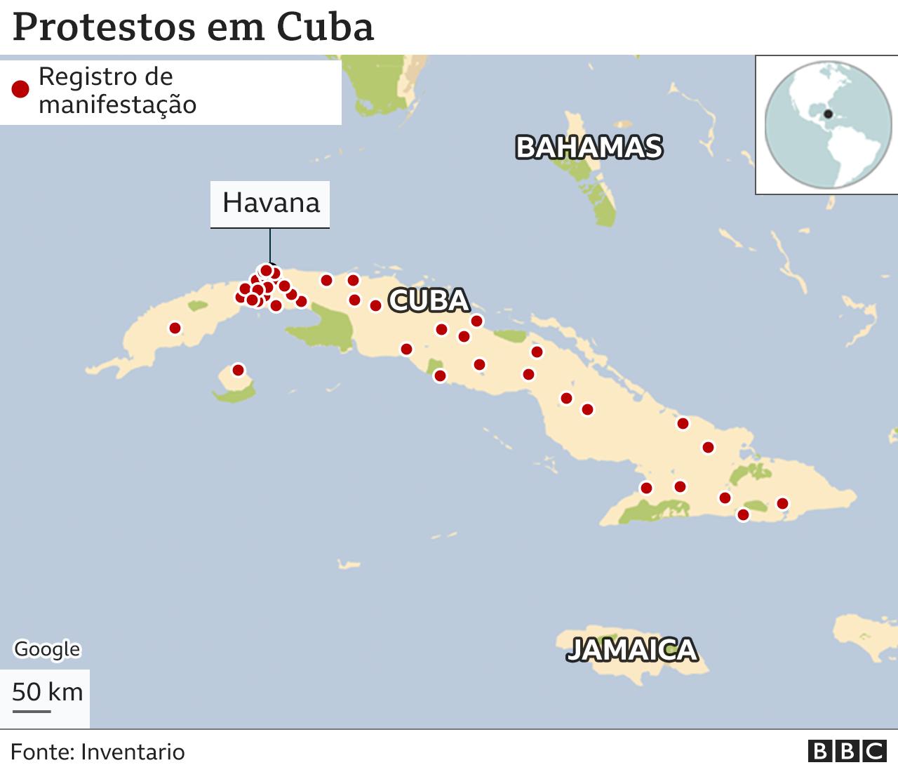 mapa de protestos em cuba em 11 de julho