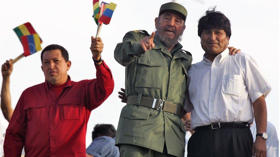 Hugo Chávez, Fidel Castro y Evo Morales.