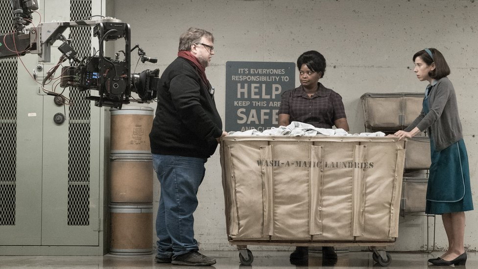 Guillermo del Toro with Octavia Spencer and Sally Hawkins on the set of The Shape of Water
