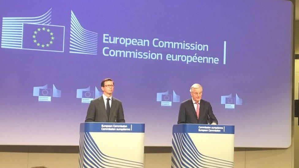 Michel Barnier (right) in Brussels
