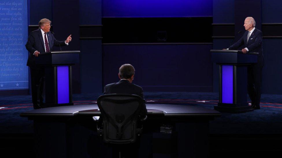 Trump e Biden durante primeiro debate da campanha de 2020