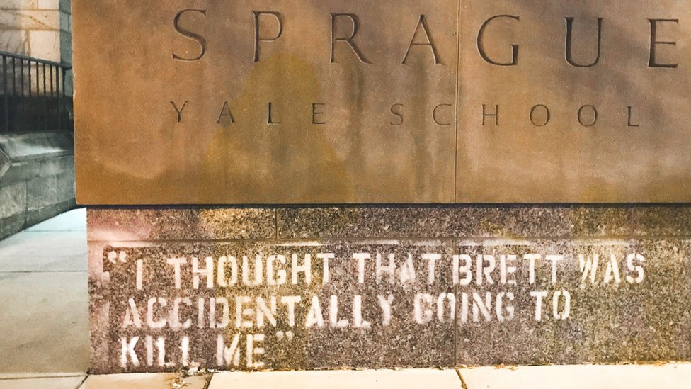 "Photo of graffiti on a wall that reads ""I thought that Brett was accidentally going to kill me"""