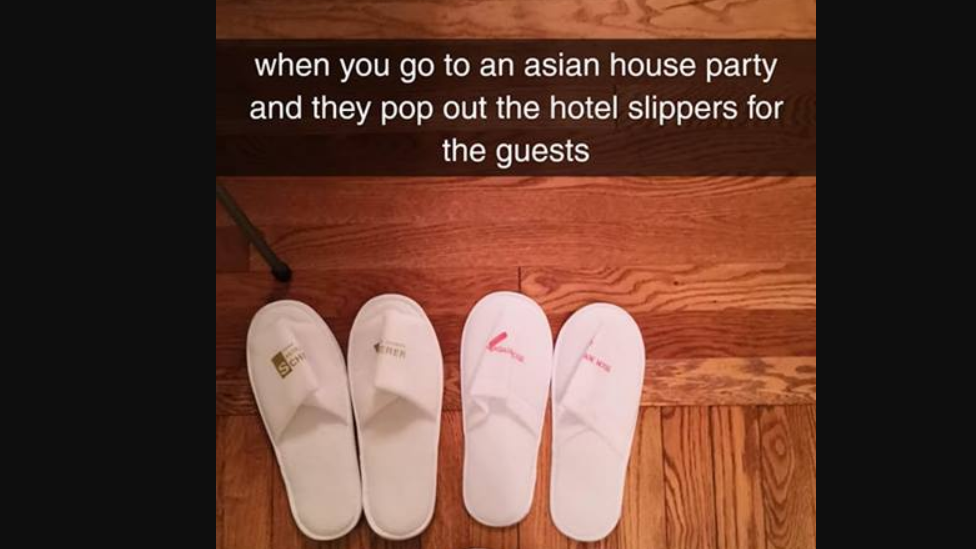 """Two pairs of slippers and a caption: """"When you go to an Asian house party and they pop out the hotel slippers for the guests"""""""