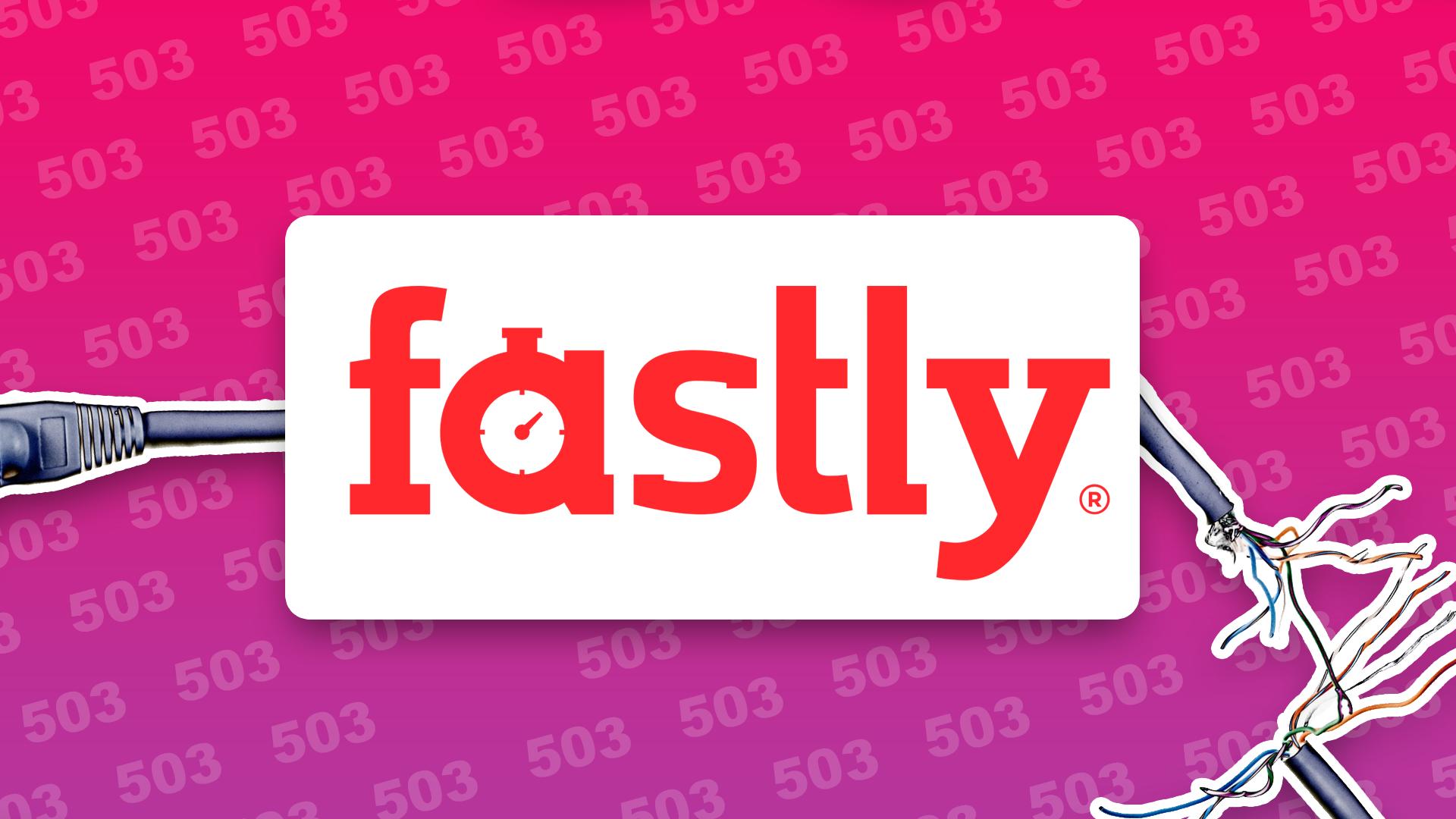 Logotipo de Fastly con un cable de conexión de internet roto
