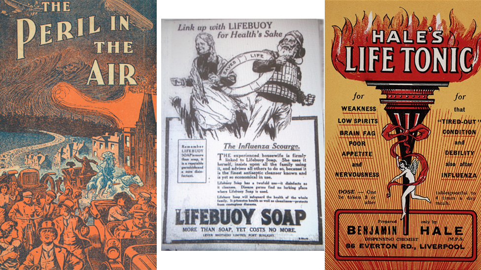 Archive advertisements associated with flu and remedies