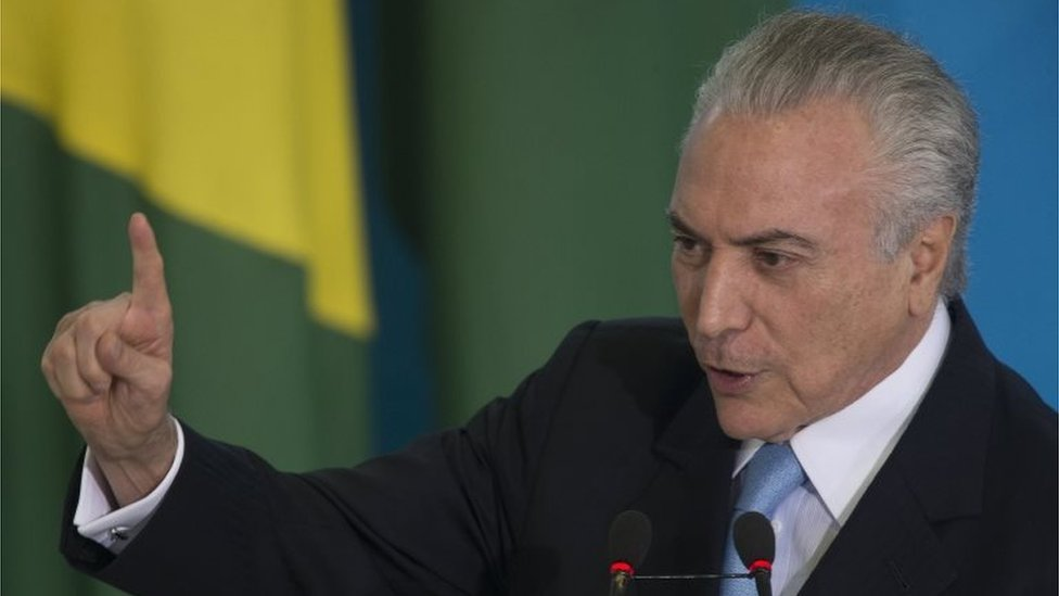 Brazilian President Michel Temer speaks at a swearing-in ceremony for the New Justice minister Torquato Jardim at the Planalto Palace in Brasilia, Brazil, 31 May 2017