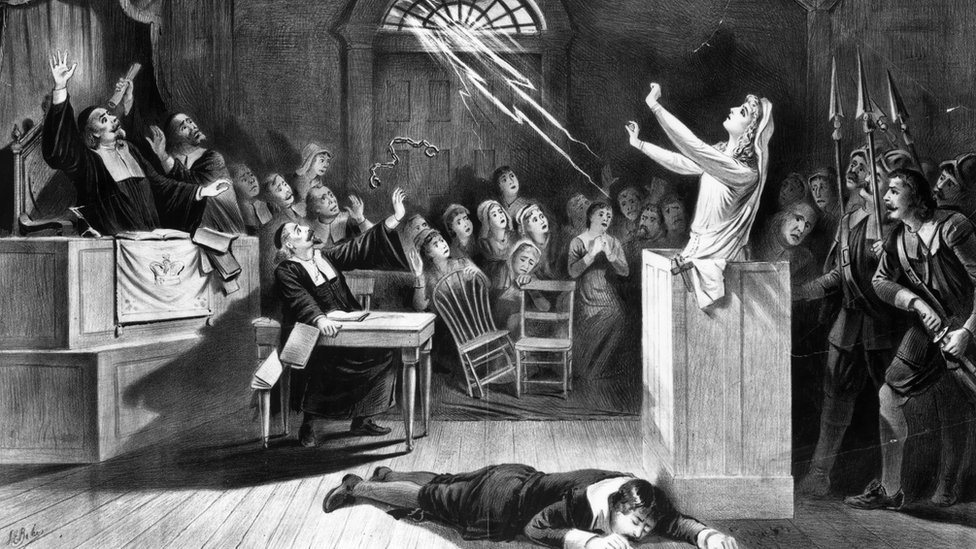 A young woman accused of witchcraft by Puritan ministers appeals to Satan to save her
