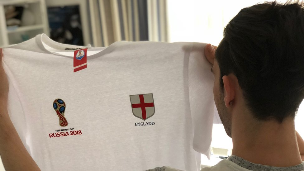 Lee with his England t shirt