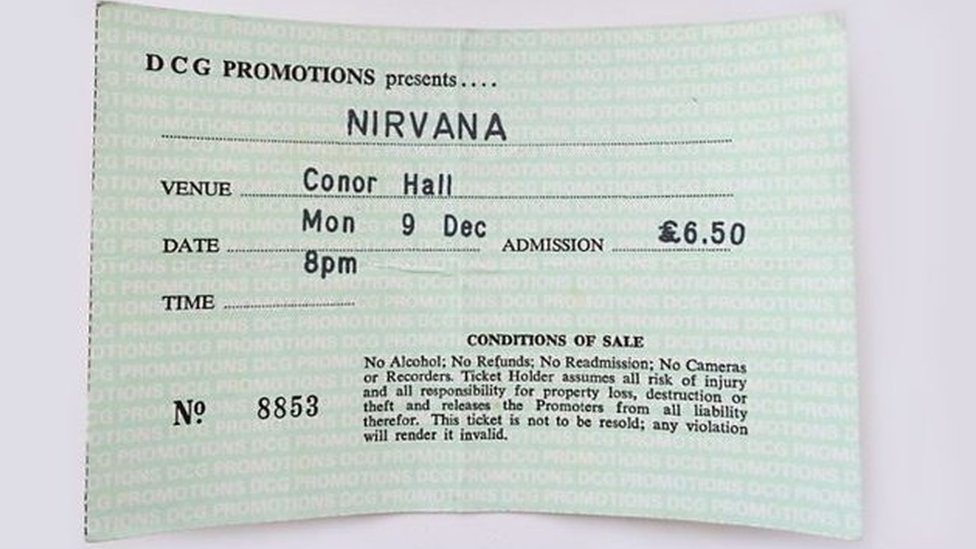 Barry Peak's ticket from Nirvana's cancelled 1991 show