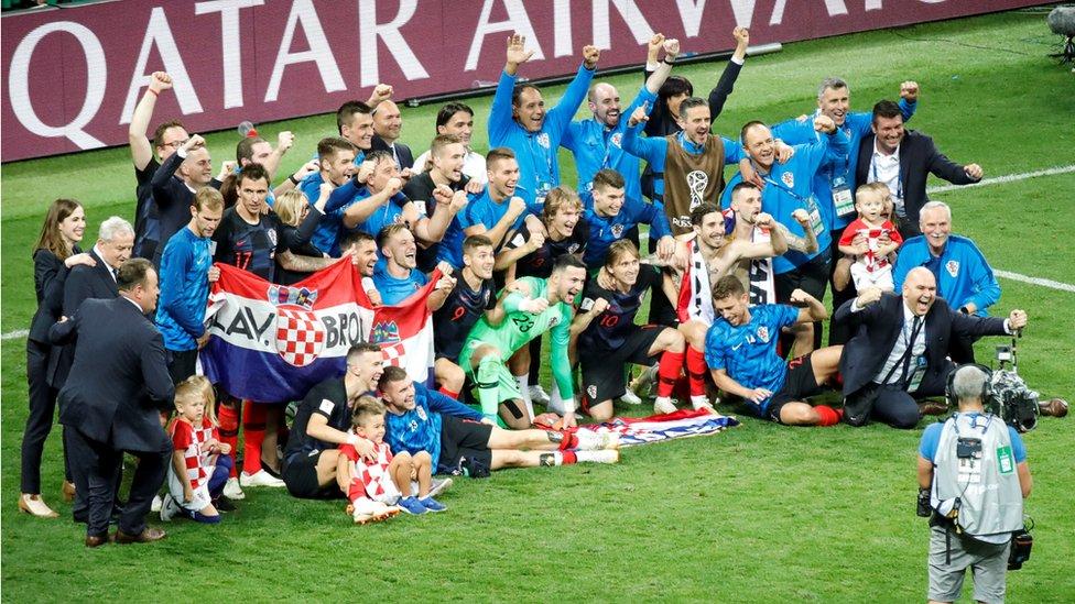 The Croatian football team celebrate victory over England