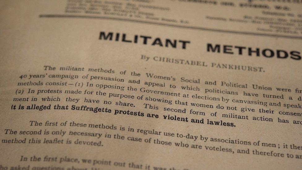 "An essay by Christabel Pankhurst titled ""militant methods"""