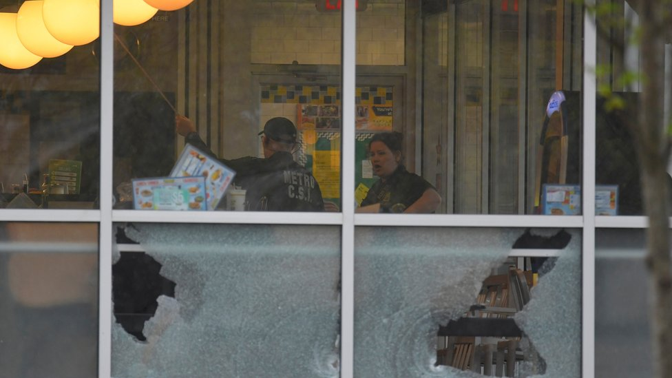 Shattered windows at the Waffle House in Nashville, 22 April