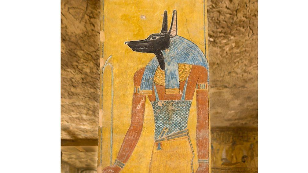阿努比斯以胡狼頭、人身的形像出現在法老的壁畫中。