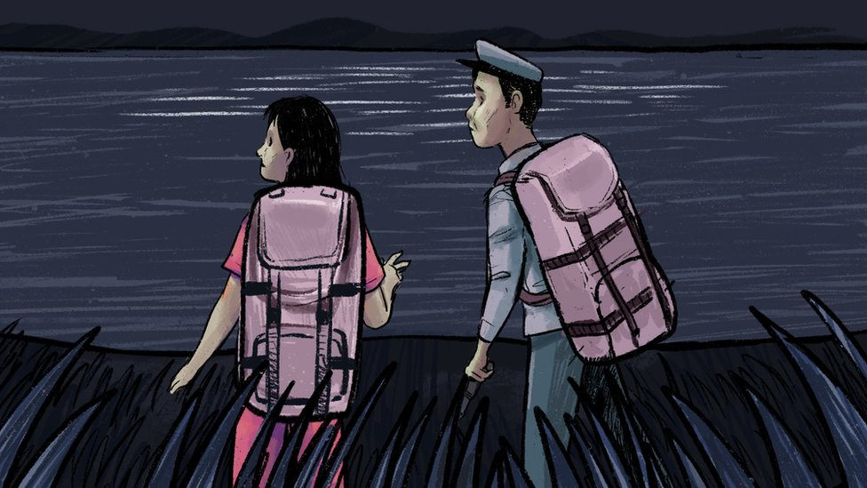 Jeon and Kim at the Tumen river - illustration