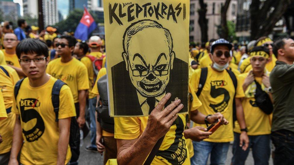 Anti-Najib demonstrators in Malaysia, November 2016