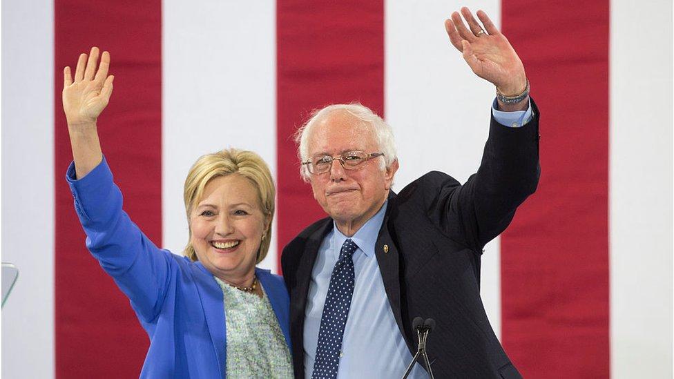 ساندرز وهيلاري كلينتون في نيوهامبشر - يوليو/تموز 2016