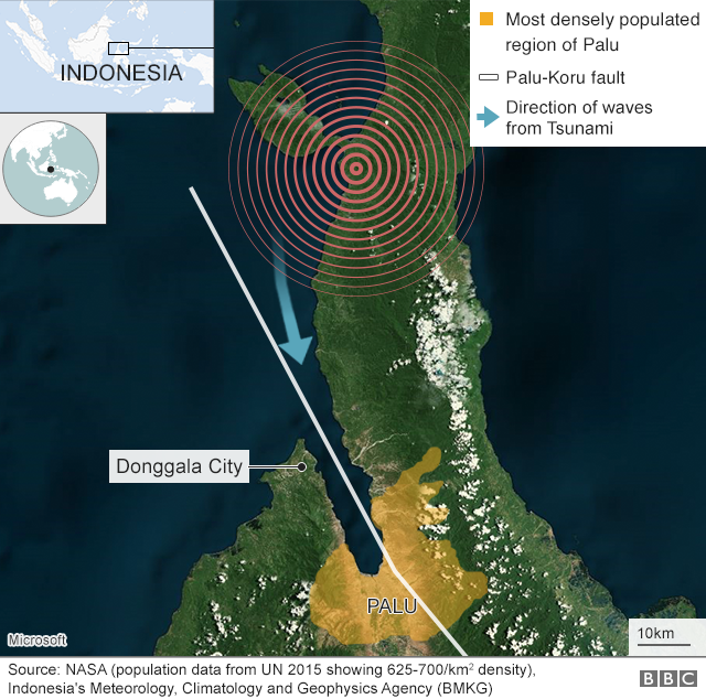 Map showing quake location and direction of the tsunami