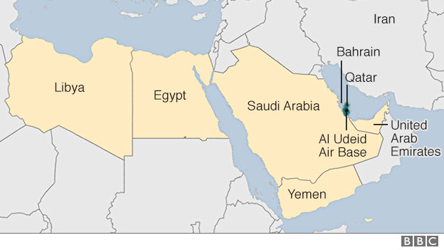Map showing Qatar and other Gulf states