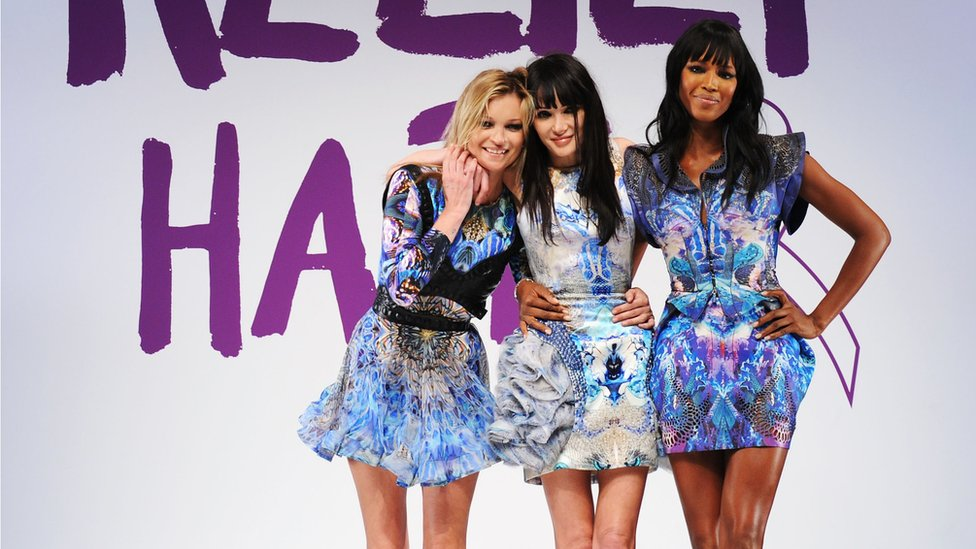 Annabelle Neilson, Kate Moss and Naomi Campbell paid tribute to Alexander McQueen at the Fashion For Relief Haiti, London 2010