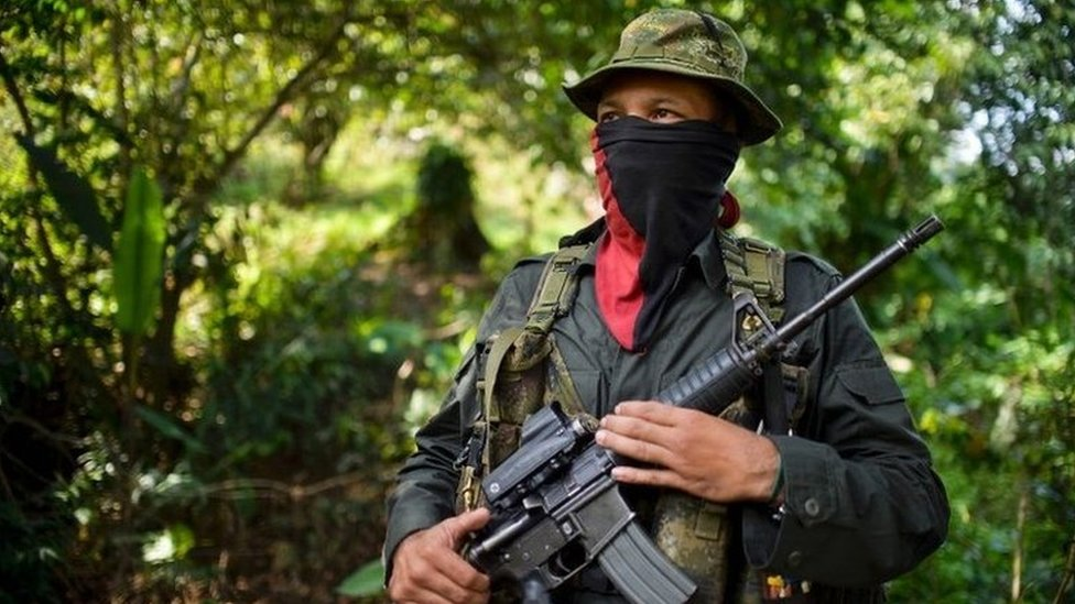 An ELN rebel commander during an interview with AFP in Alto Baudo,