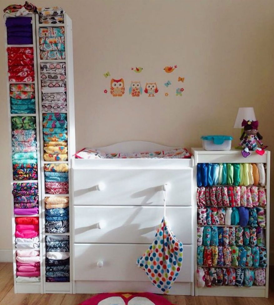 nappies stacked on shelves