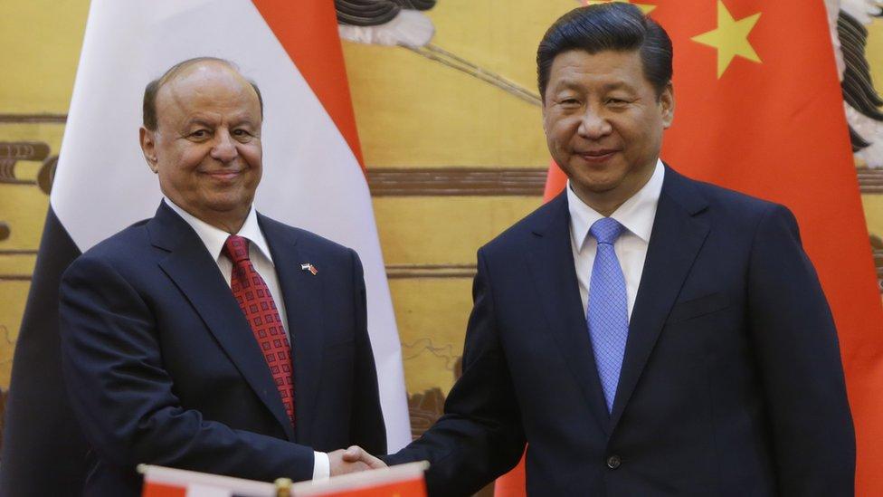El presidente de Yemen, Abd-Rabbu Mansour Hadi, y el de China, Xi Jinping.
