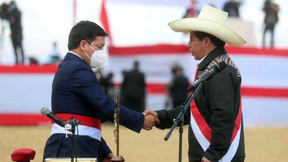 Guido Bellido y Pedro Castillo