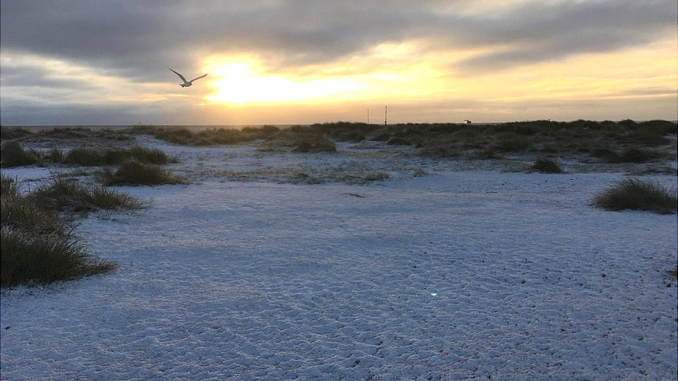 Snow on the beach at Southwold