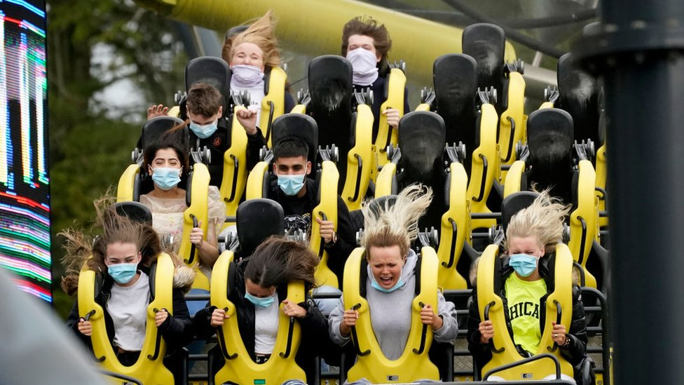 People on the Smiler ride