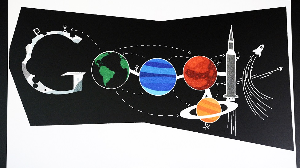 A space drawing by Ryan Shea, a 7th grader at Creighton Middle School in Lakewood, is the Colorado winner in the Doodle 4 Google contest, April 29, 2014.