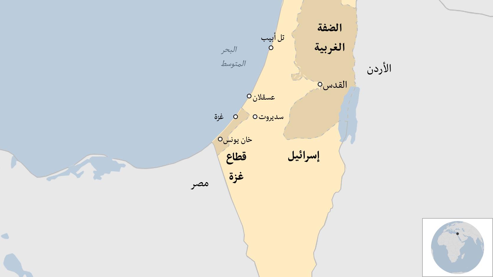 خريطة لغزة وإسرائيل