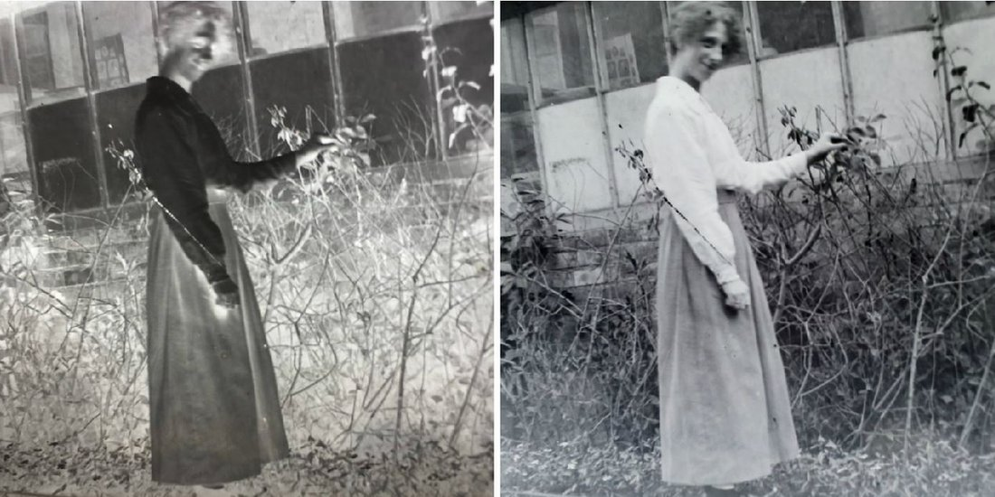 Žena u bašti pozira pred kamerom