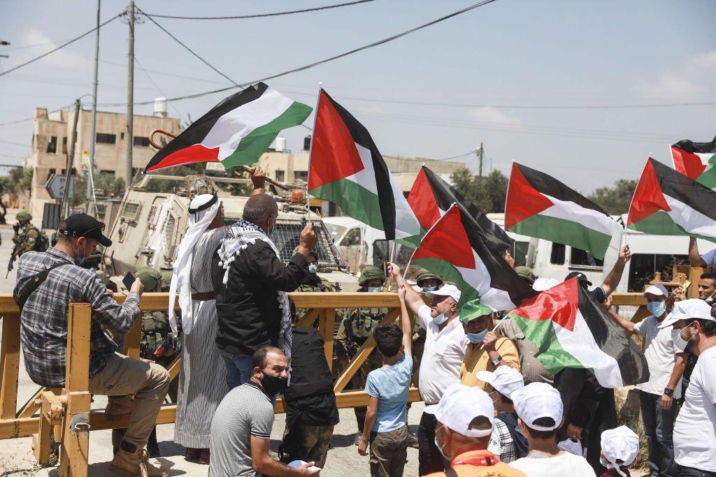 فلسطينيون يحتجون على الاتفاقية في 14 أغسطس/آب 2014