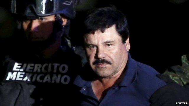 Joaquin ''El Chapo'' Guzman with soldiers after his recapture