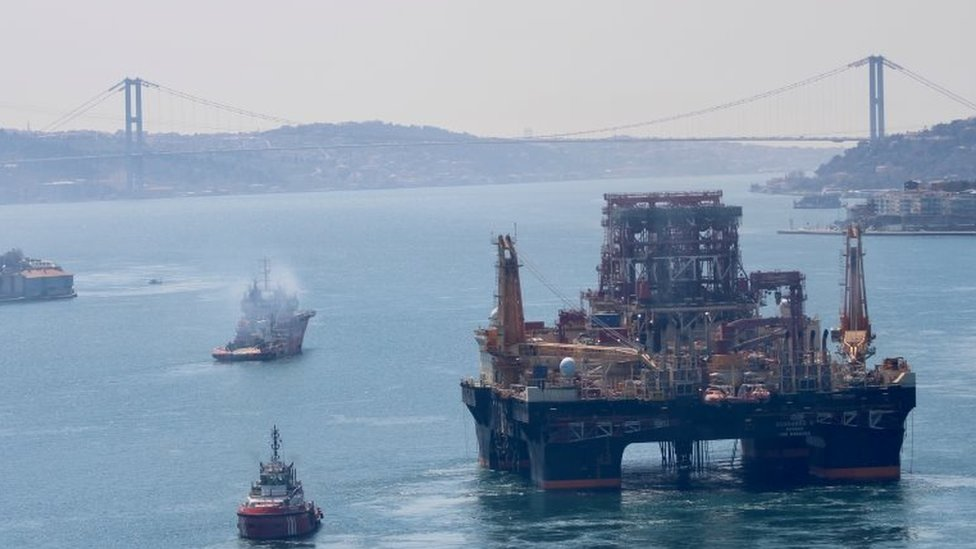 A drilling vessel in the Bosphorus on the way to the Mediterranean to explore