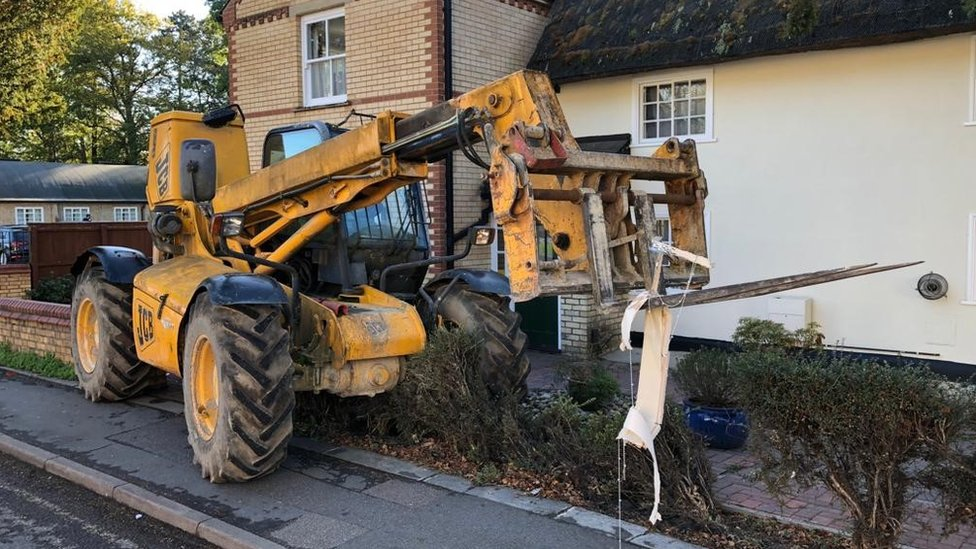 The JCB believed to have been used in the ram-raid in Great Shelford