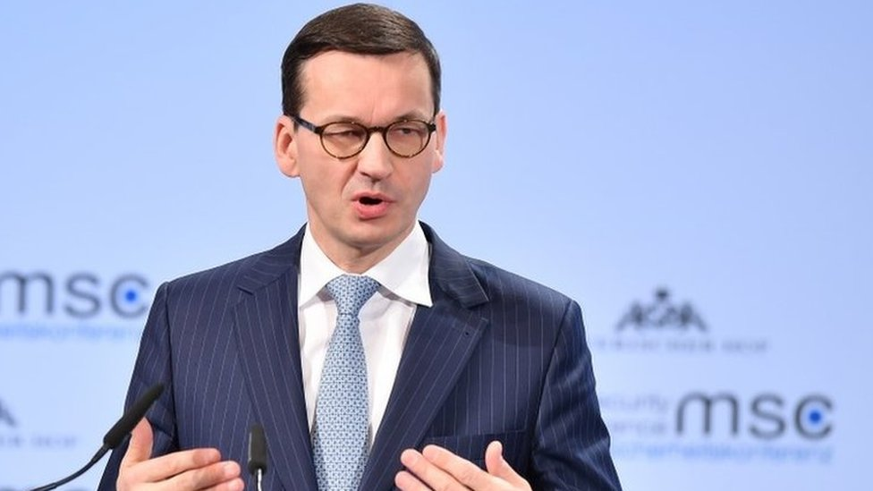 Polish PM Mateusz Morawiecki speaks at the Munich Security Conference in Germany. Photo: 17 February 2018