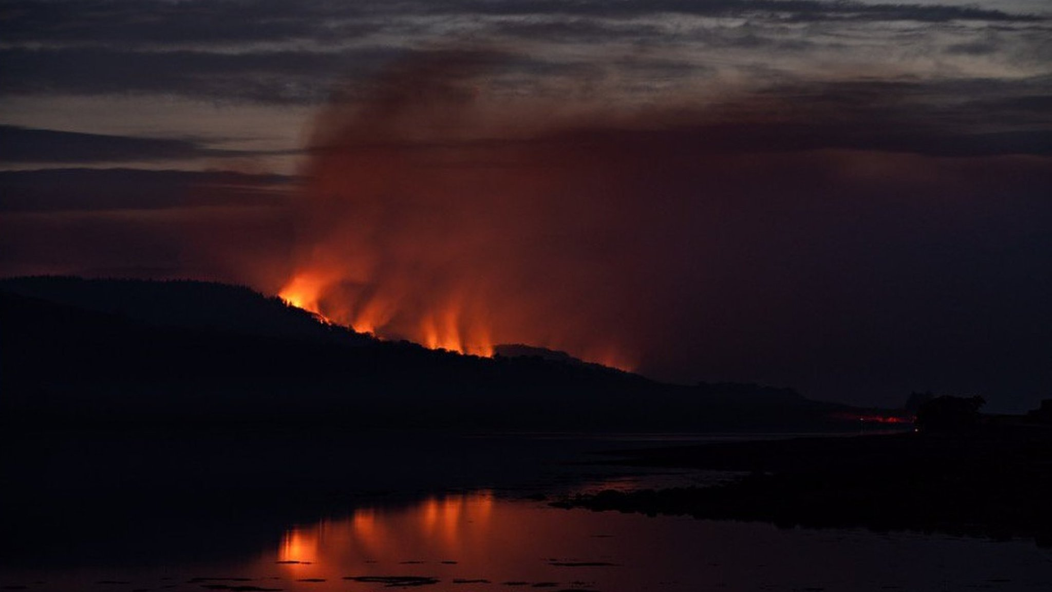 Series of wildfires burning on the Isle of Bute
